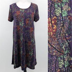 LuLaRoe Carly Dress Feather Print Purple Hi Lo M